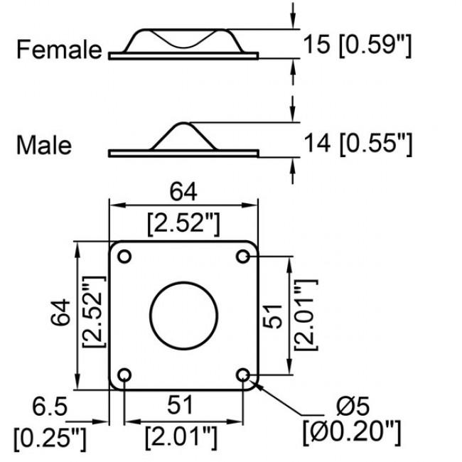 Penn Elcom 1202 | Pata Metálica Macho 64x64x14mm
