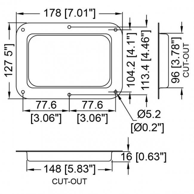 Penn Elcom 1482 | Base Embutida Ciega Grande Zincada 127x178mm