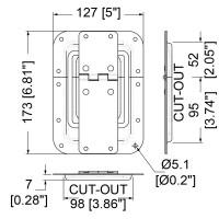 Penn Elcom P2553Z   Bisagra empotrada con tope Grande de 127x173mm