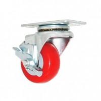 Penn Elcom 2405PBTB  | Rueda Roja con Freno de 75mm de Poliuretano