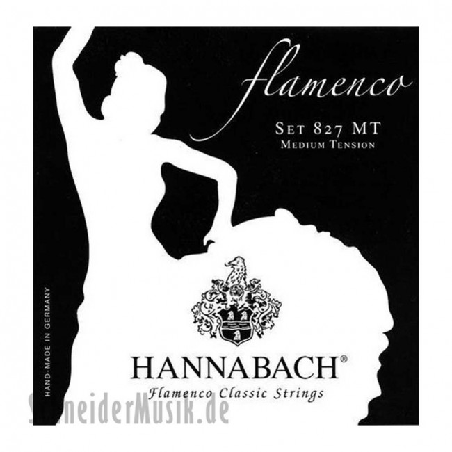 HANNABACH 827MT   Cuerdas para Guitarra Clásica Flamenca Medium Tension Negro