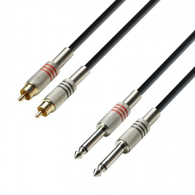 ADAM HALL K3TPC0100 | Cable de Audio de 2 RCA macho a 2 Jacks 6,3 mm mono 1 m