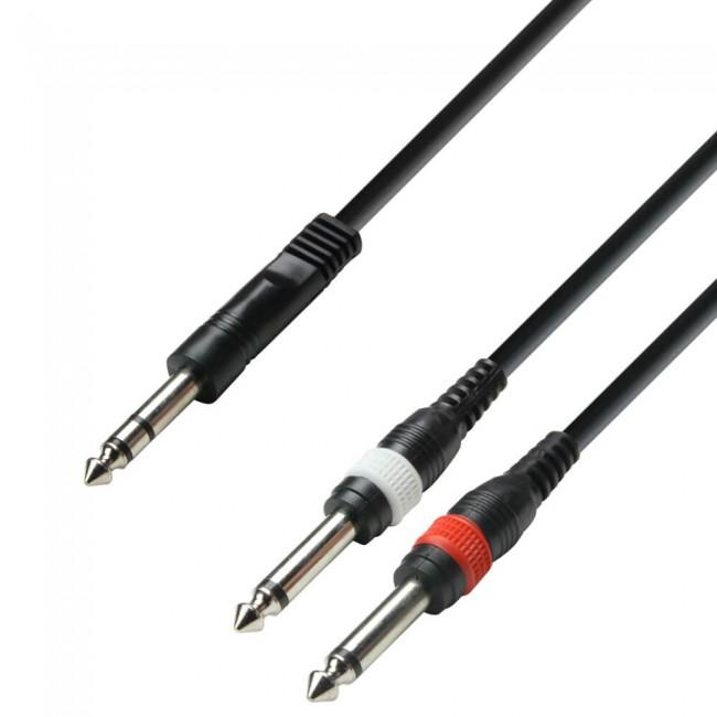 ADAM HALL K3YVPP0300 | Cable de Audio de Jack 6,3 mm estéreo a 2 Jacks 6,3 mm mono 3 m