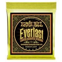 ERNIE BALL P02556 | Cuerdas para Guitarra Acústica Everlast Medium Light Coated 80/20 Bronce Calibres 12-54
