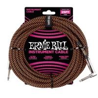 ERNIE BALL P06064 | Cable de Instrumento Trenzado Recto de 7.5 Mt Negro y Naranja