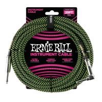 ERNIE BALL P06066 | Cable de Instrumento Trenzado Recto de 7.5 Mt Negro y Verde