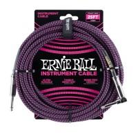 ERNIE BALL P06068 | Cable de Instrumento Trenzado Recto 7.5 Mt Negro y Violeta