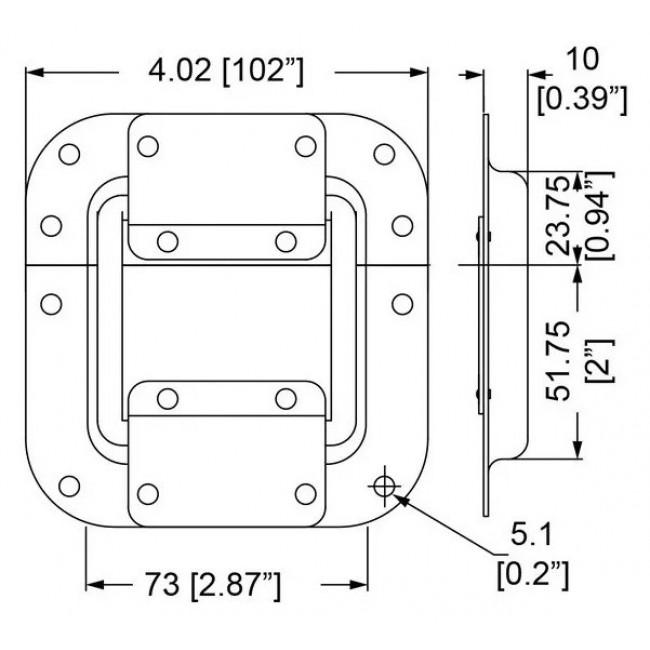 Penn Elcom 2101 | Bisagra con Tope de Embutir Chico de 102mm x 105mm
