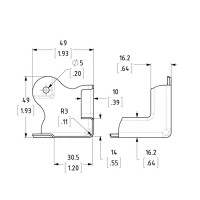 Penn Elcom C0675-30 | Esquinero Plano Mediano de 3 Remaches de 49mm