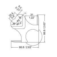 Penn Elcom C1992Z | Esquinero de Bola Grande Con Relieve de 30mm