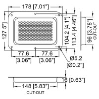 Penn Elcom D2101z-04 | Base Embutida Grande Perforada para Ventilación