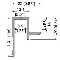Penn Elcom E0490-2000 | Perfil de Aluminio para Bordes de Encaje Sistema Slam-Lid ( varilla 2 metros - interno 9,5mm )