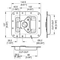 Penn Elcom L944-679MOL | Cierre Embutido Grande con Off Set 127x158.7mm