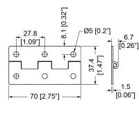 Penn Elcom P0620   Bisagra Simple con Agujeros Pre Cortados 70x37,4mm