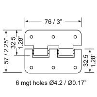 Penn Elcom P0626EZ   Bisagra Desmontable Grande de 76x57mm