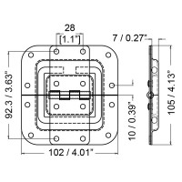 Penn Elcom P2598Z   Tope Embutido Chico de 102x105mm con Off Set 27mm