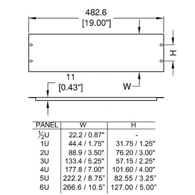 Penn Elcom R1268-05UK | Frente de Rack de Ventilacion 1/2 U