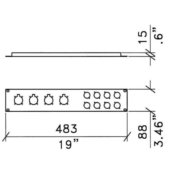 Penn Elcom R1273-2UK | Frente de Rack 2U para 8 Conectores XLR + 4 Speak