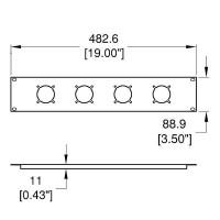 Penn Elcom R1274 | Frente de Rack 2 U para 4 Conectores Multipin Socapex