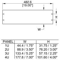 Penn Elcom R1385-2UK   Frente de Rack Ciego 2U
