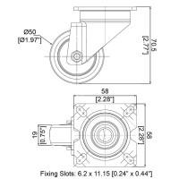 Penn Elcom W0960   Rueda Giratoria de 50mm