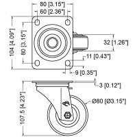 Penn Elcom W0990-80 | Rueda Giratoria Azul de 80mm