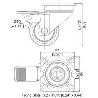 Penn Elcom W0995   Rueda Giratoria de 50mm con Freno