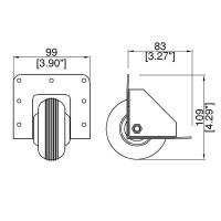 Penn Elcom W2080-HD | Rueda en Angulo de 75mm