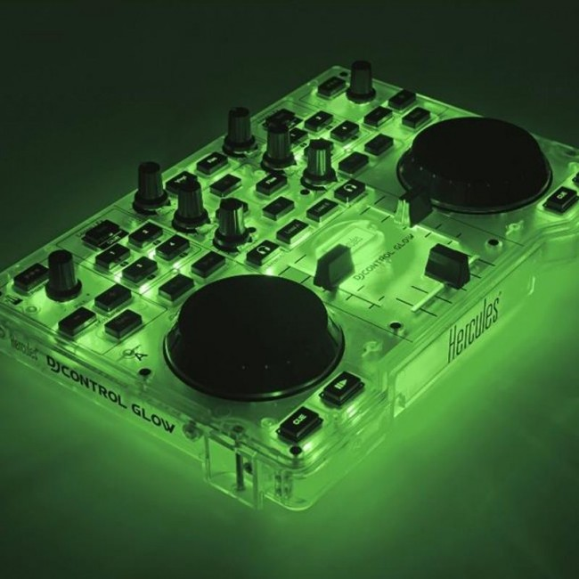 Hercules HER-GLOW-GREEN   Controlador para Dj Mixer Retroiluminado (Incluye Software Gratuito)